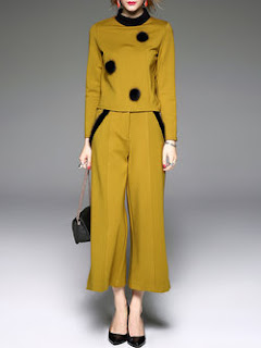 Yellow Long Sleeve Turtleneck Two Piece Jumpsuit