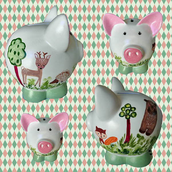 Little Treasures For Christmas Hand Painted Ceramic Piggy Banks
