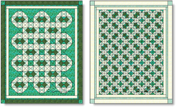 Quilts designed  using the CHISHOLM TRAIL quilt block - images © Wendy Russell
