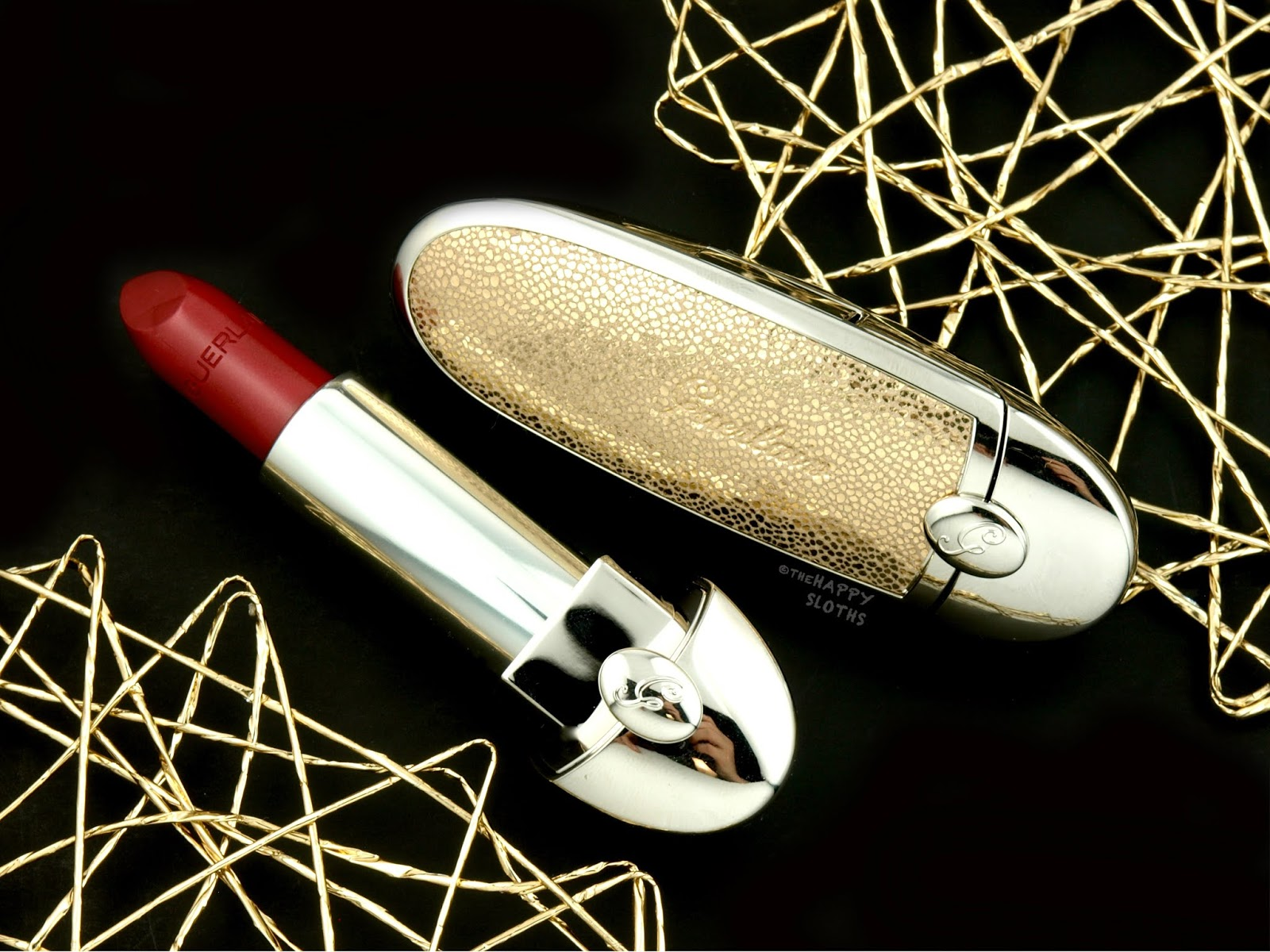 "Guerlain | Holiday 2018 Rouge G Customizable ""Electric Gold"" Case & ""N°91 Electric"" Lipstick: Review and Swatches"
