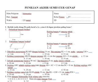 Soal UAS Matematika Kelas 4 Semester 2 Kurikulum 2013