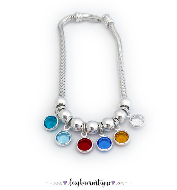 CC-B-Birthstone Charm Bracelet 16   This Birthstone Charm Braccelet is shown with 6 birthstone Charms (November, March, July or January, September, November and April).