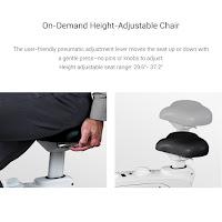 Height adjustable seat with pneumatic lever, image, on FlexiSpot Deskcise Pro Desk Exercise Bike