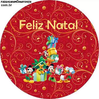 Navidad de Mickey y sus Amigos: Toppers para Cupcakes o Etiquetas Redondas para Descargar Gratis.