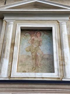 San Sebastiano mural above the entrance to the Chiesetta di San Sebastiano.