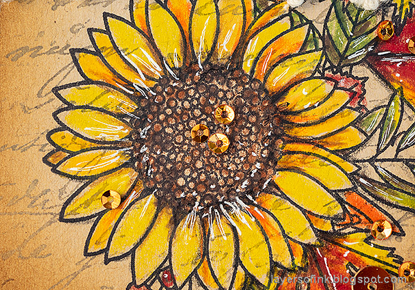 Layers of ink - Leaves on Kraft Tutorial by Anna-Karin Evaldsson. Color the sunflower with colored pencils.