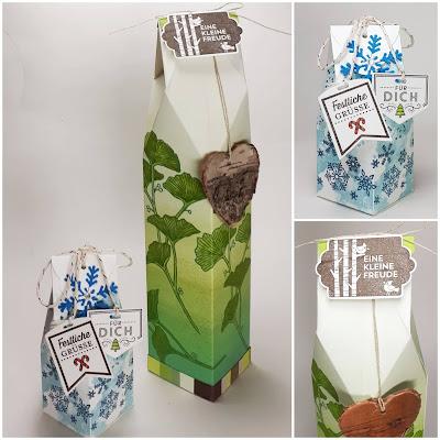 Rhombusverpackungen in 2 Ausführungen - mit Ginkgo Blättern und mit Schneeflocken Stampin' Up! www.eris-kreativwerkstatt.blogspot.de