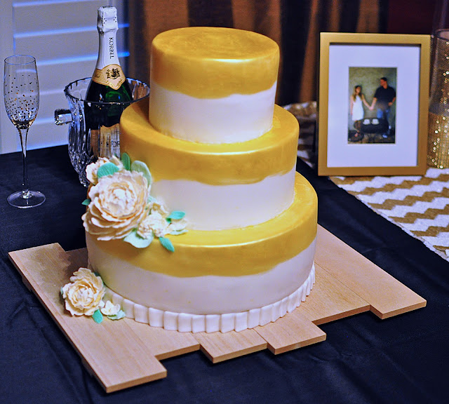 the bake more gold engagement cake with peonies edible. Black Bedroom Furniture Sets. Home Design Ideas