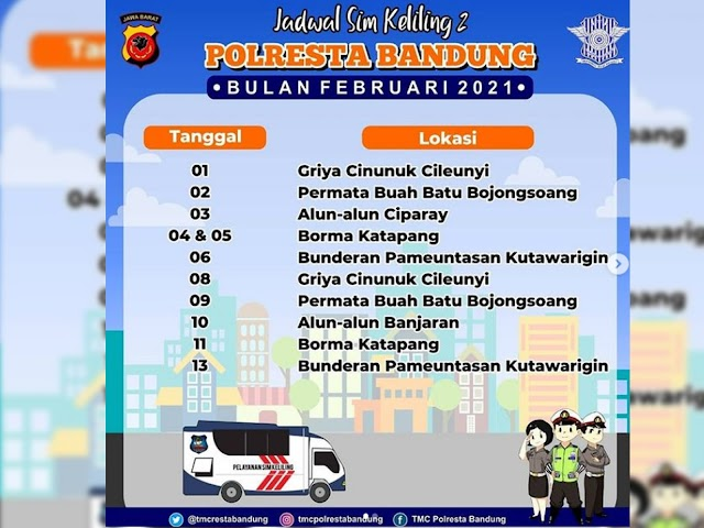 Jadwal Lengkap Layanan SIM Keliling Polresta Bandung Bulan Februari 2021