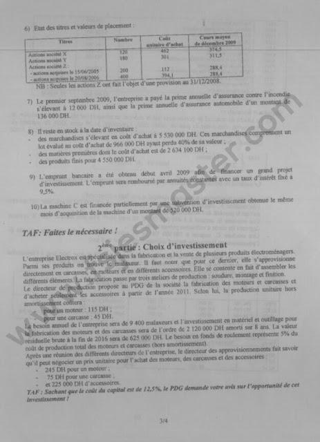 Exemple Concours Master Comptabilité Contrôle Audit (CCA) 2010-2011 - Fsjes Souissi