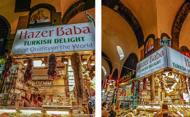 Loja de turkish delight no Bazar Egípcio de Istambul