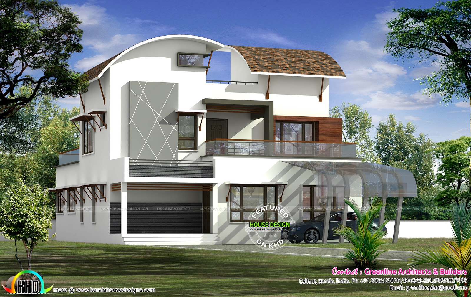 Contemporary Architecture Curved Roof Kerala Home Design