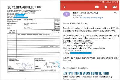 Tiang Bendera Stainless Pesanan PT Tira Austehnite Tbk Pulo Gadung Jakarta