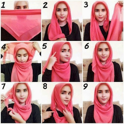 Tutorial Hijab Segi Empat Simple Casual