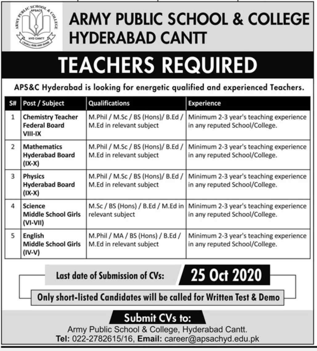 Army Public School & College APS&C Hyderabad Cantt Jobs 2020