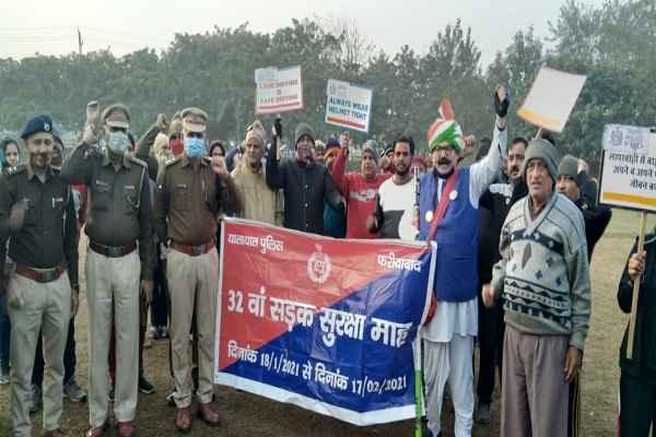 faridabad-police-road-safety-week-ballabhgarh-news