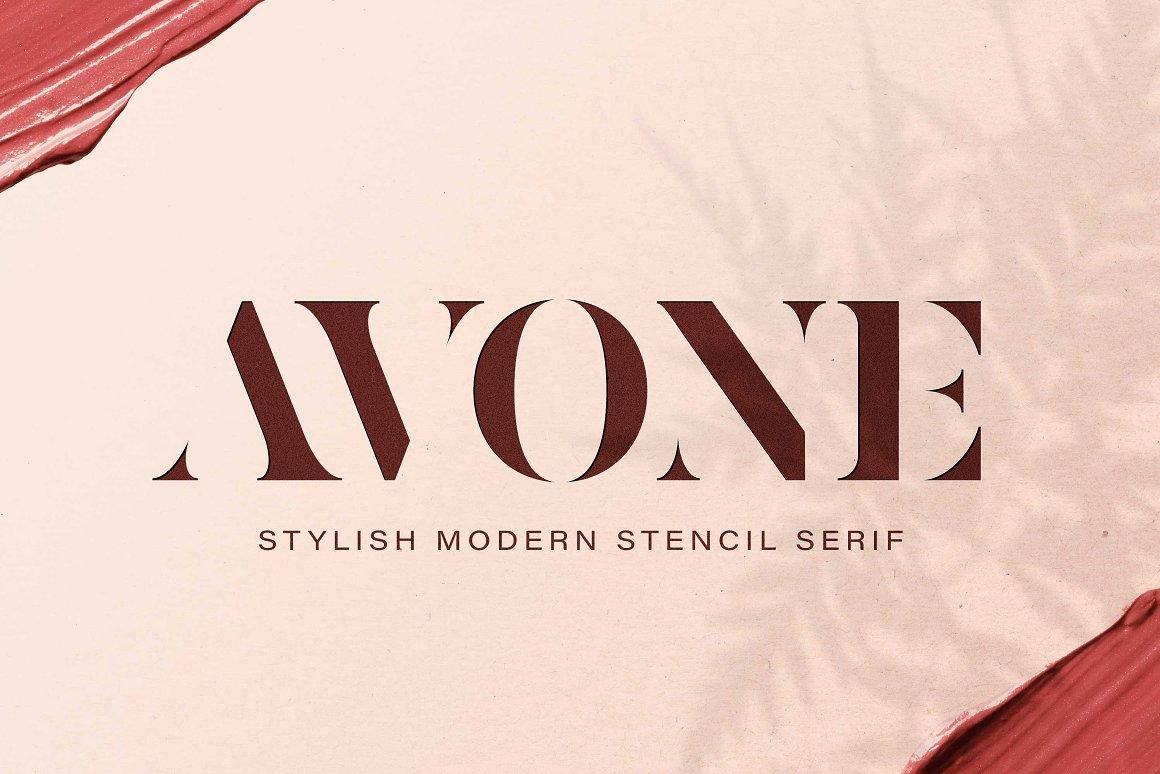 AVONE Font - Free Stencil Modern Serif Typeface