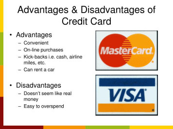 Advantages and disadvantages of credit cards