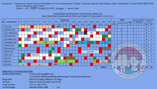 Kalender Pendidikan 2020/2021 Kalimantan Tengah (Kalteng)
