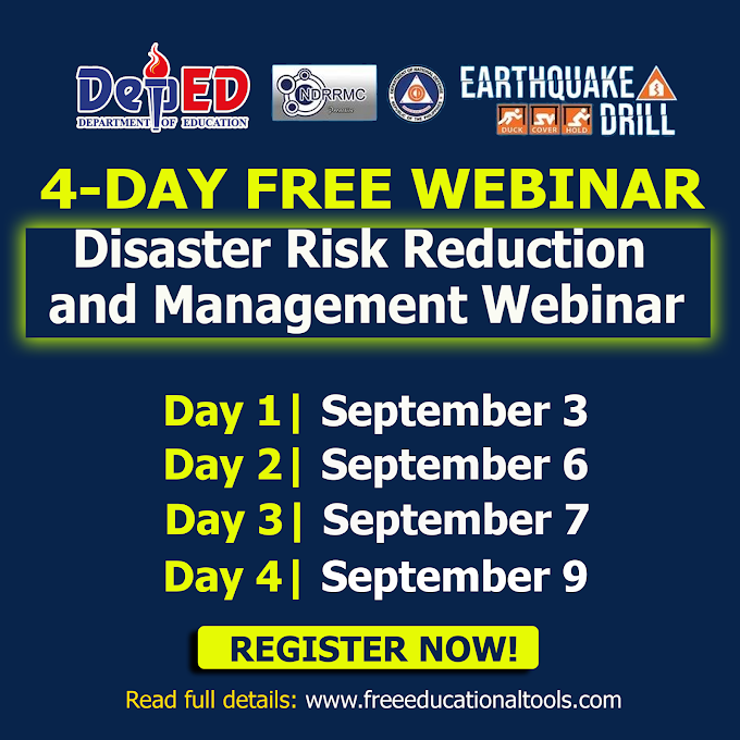 4-Day Free Webinar on DRRM in partnership with DepEd | September 3, 6, 7 & 9 | REGISTER NOW!