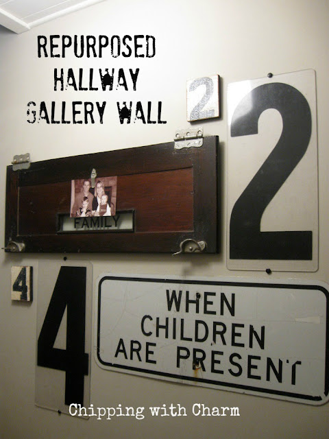 Chipping with Charm: Hallway Gallery Wall...www.chippingwithcharm.blogspot.com