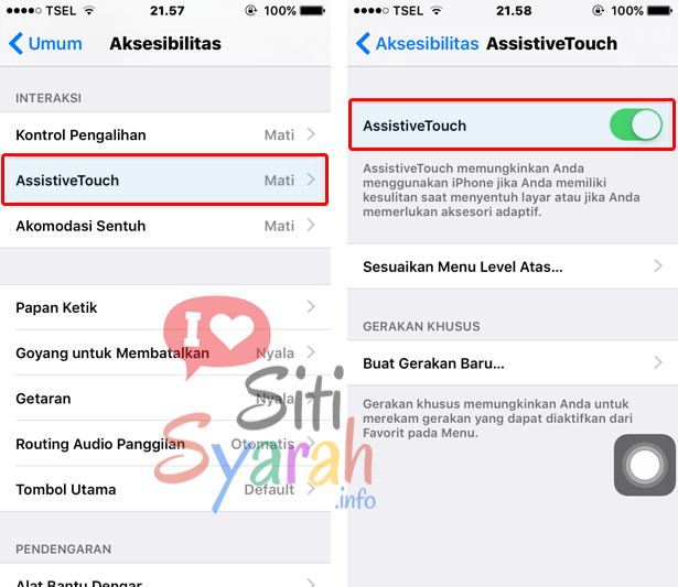 menampilkan home button di iPhone
