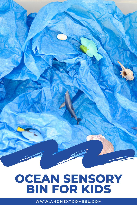Ocean sensory bin for toddlers and preschool kids
