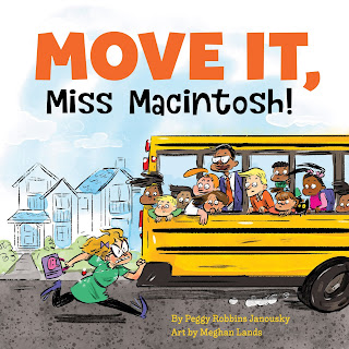 Move It, Miss Macintosh! is a funny picture book about a kindergarten teacher who is so nervous about the first day of school that she doesn't want to go. The principal and her teacher friends have to encourage her and help her get moving. Can Miss Macintosh make it to school and survive her first day? #kindergarten