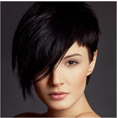Model rambut Hawk Keren dengan Bangs