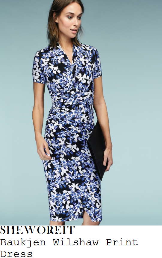 susanna-reid-baukjen-wilshaw-blue-white-and-black-floral-print-short-sleeve-wrap-front-draped-jersey-dress