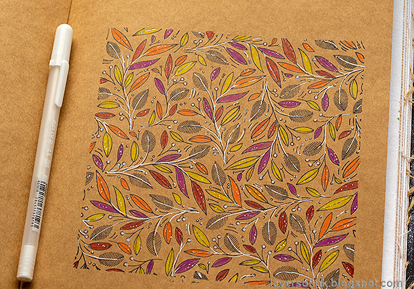 Layers of ink - Colored Pencils on Kraft Tutorial by Anna-Karin Evaldsson. White gel pen.