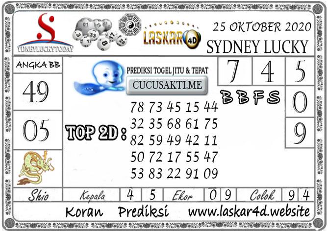 Prediksi Sydney Lucky Today LASKAR4D 25 OKTOBER 2020
