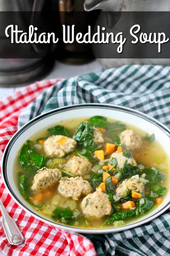 This Italian Wedding Soup is filled with lots of delicious meatballs, spinach, veggies, and pasta.
