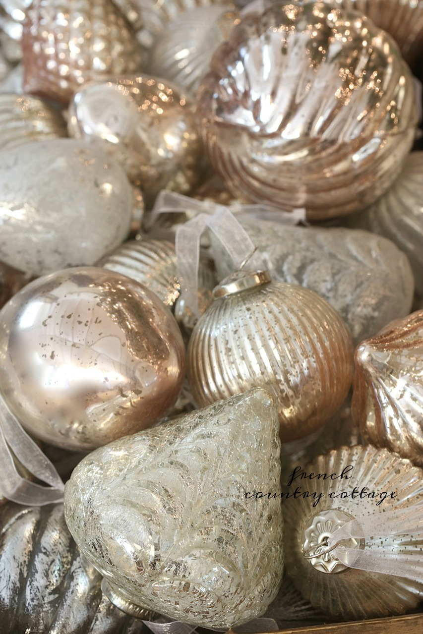 french country blush mercury glass christmas ornaments french country cottage - Mercury Glass Christmas Decorations