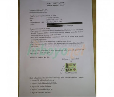 Penyebar Maklumat Palsu Lirboyo dukung Prabowo Minta Maaf, Ini Kata KH Kafabihi