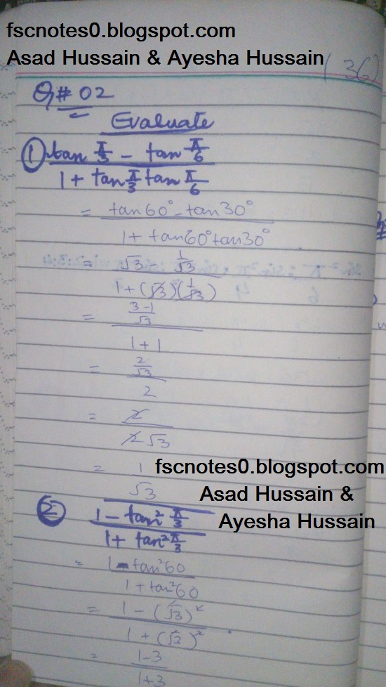 FSc ICS FA Notes Math Part 1 Chapter 9 Fundamentals of Trigonometry Exercise 9.3 Question 2 - 3 by Asad Hussain & Ayesha Hussain