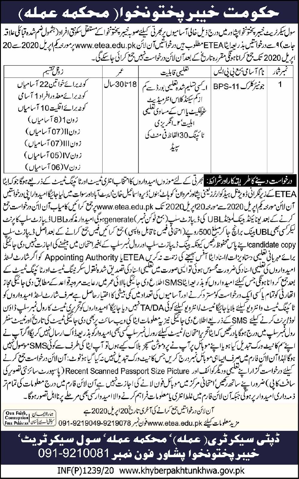 Junior Clerk Jobs in Civil Secretariat Khyber Pakhtunkhwa April 2020