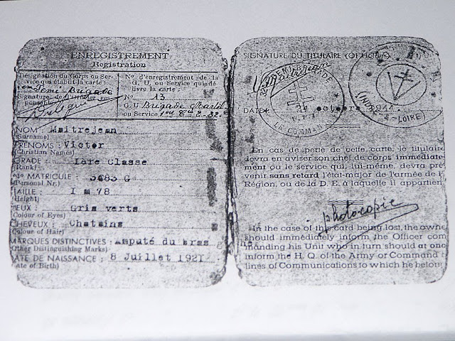 Victor Maitrejean's ID card, France.