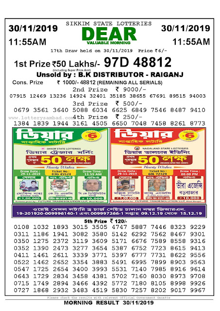 Sambad Lottery 30-11-2019 Sikkim State Lottery Result 11.55 AM-lotterysambadresults.com