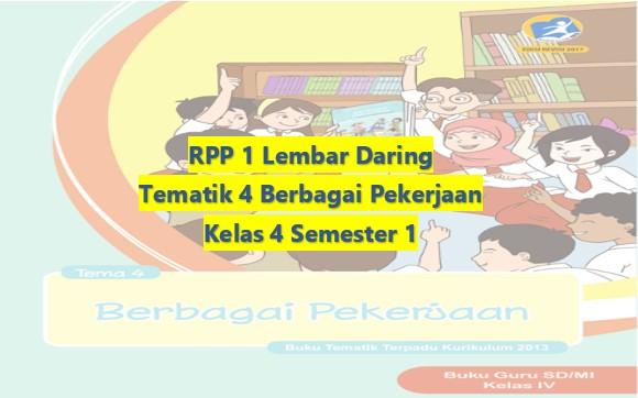 Download RPP 1 Lembar Daring Kelas 4 Semester 1 Revisi 2020 Tematik Tema 4 Berbagai Pekerjaan