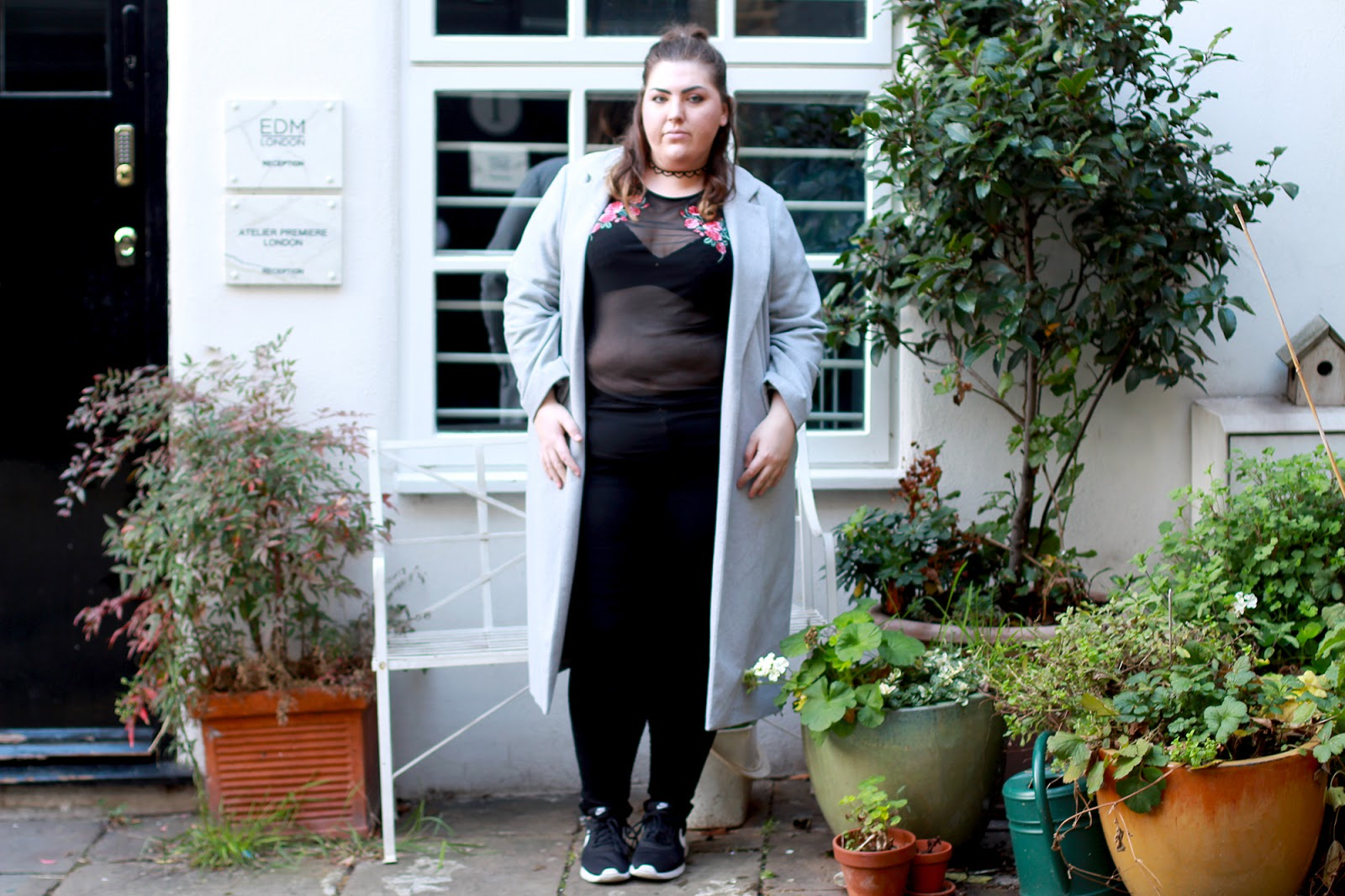 New Look Curves Black Mesh Rose Embroidered T-shirt Review