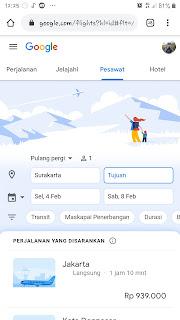 Layanan google Untuk mengecek jadwal penerbangan