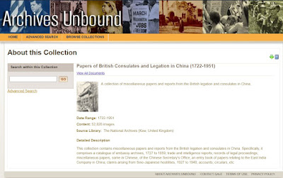 Papers of British Consulates and Legation in China (1722-1951)
