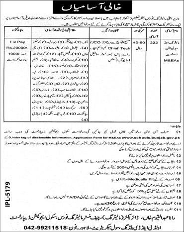 Jobs in Education Department (Schools) Punjab June 2019