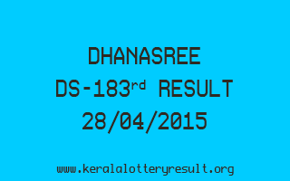 DHANASREE DS 183 Lottery Result 28-4-2015