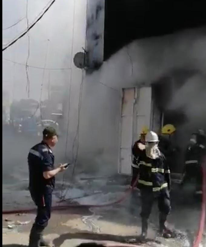اندلاع حريق داخل أسواق تجارية وسط بغداد والدفاع المدني يتدخل