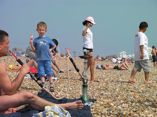 hubble bubble pipe smoking on southsea beach