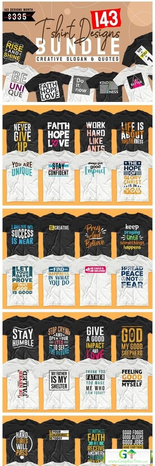T-shirt Designs Bundle Slogan Quotes [Vector] [3D And Element Object & Web]