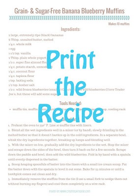 Recipe card for grain-free, sugar-free banana blueberry muffins