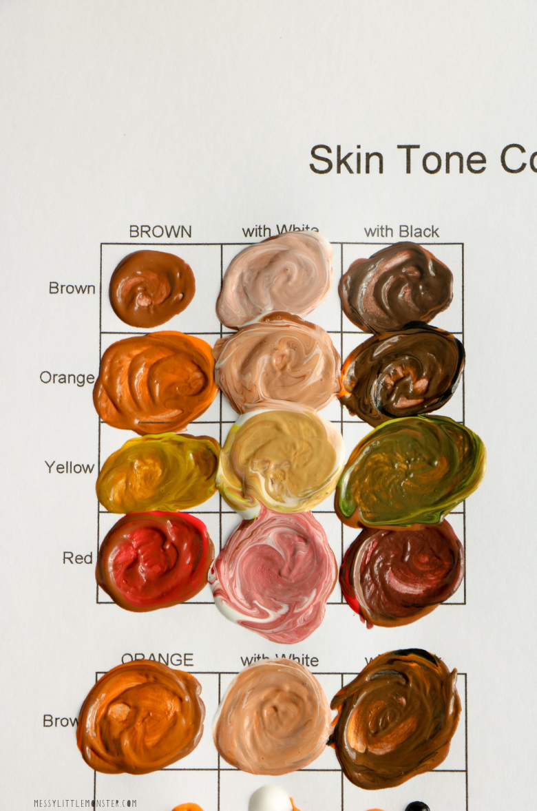 How To Make Skin Color Paint + Printable Skin Color Mixing Chart - Messy  Little Monster